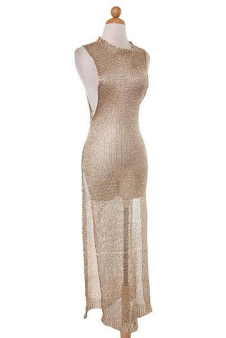 Metallic Knit Maxi Dress - Gold