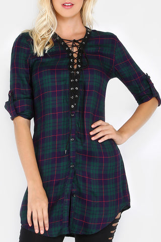 Lace Up Plaid Tunic Top