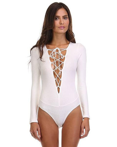 Lace-Up Knit Bodysuit - White - FINAL SALE
