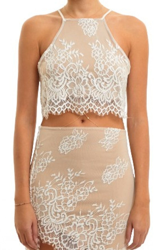 Lace Detail Sleeveless Crop Top - White