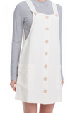 Linen Overall Mini Dress - Ivory- FINAL SALE