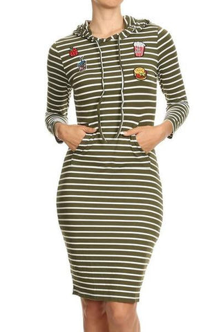 Striped And Patched Long Sleeves Dress