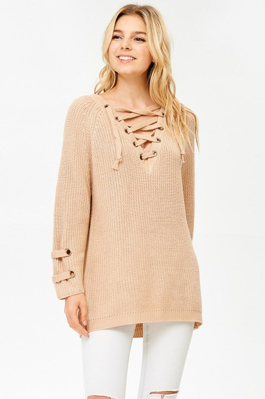 Deep V Pullover Sweater - Taupe