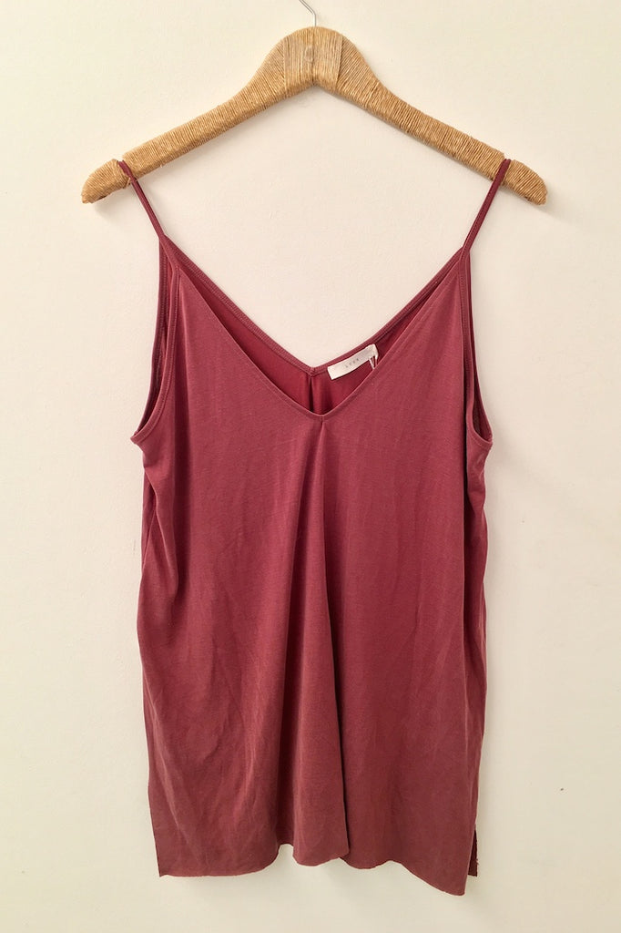 Jersey Side Slit Tank Top - Maroon