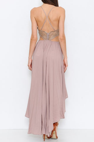 Lace Bodice High Low Dress - Mauve