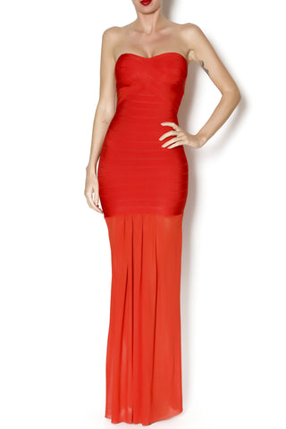 Stapless Banded Maxi Dress - Salmon - FINAL SALE