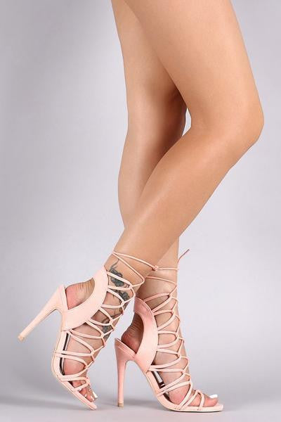 Melrose Gaged Heels - Peach- FINAL SALE