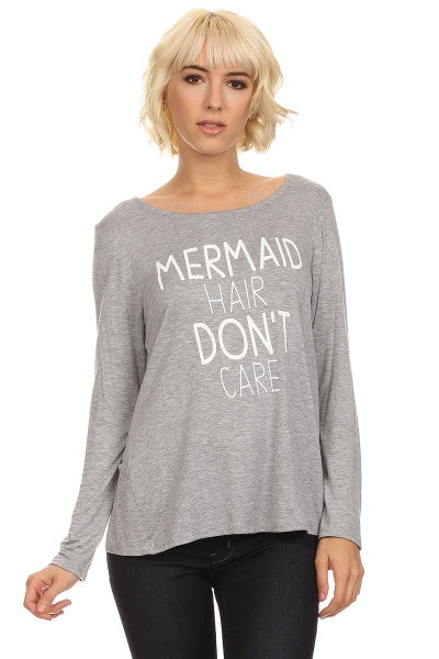 Mermaid Graphic Top - Grey