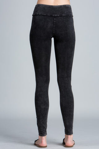 Mineral Wash Moto Leggings - Black