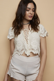 Natural Crocheted Crop Top - Beige
