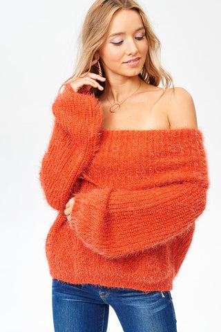 Fold Over Wool Sweater - Orange
