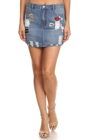 Denim Patchwork Skirt   - FINAL SALE