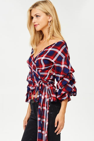 Plaid Waist Tie Top