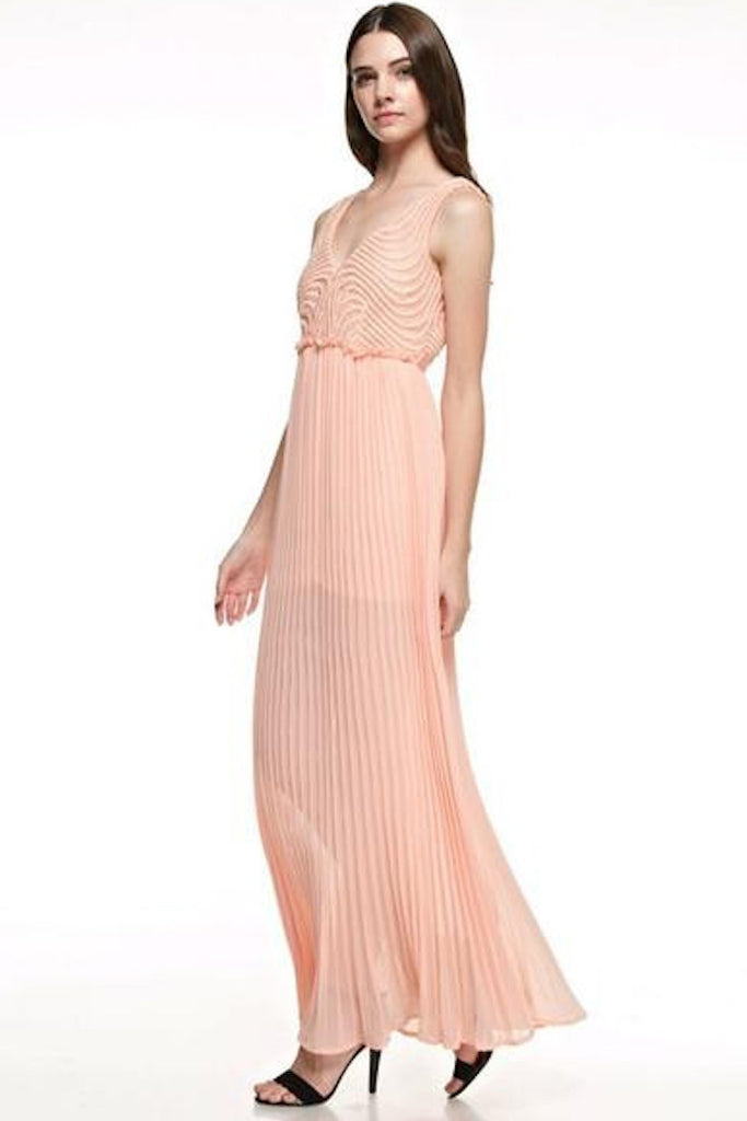Pleated Strappy Back Maxi Dress - Peach