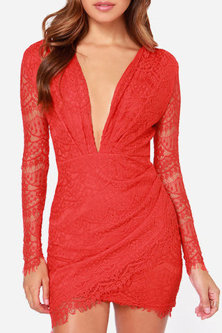 Coral Red Lace Dress