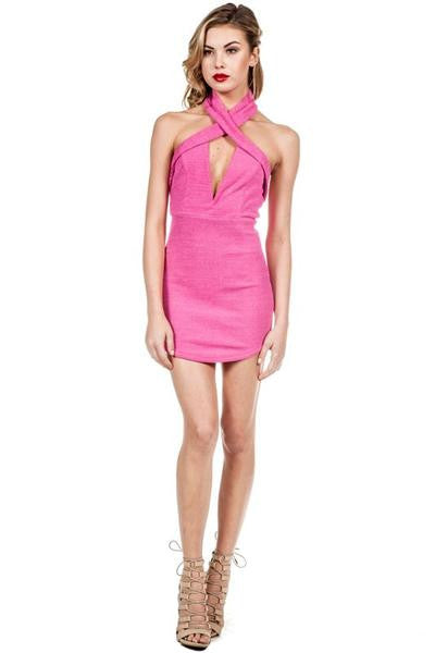 Cross Neck Rib Mini Dress - Pink- FINAL SALE