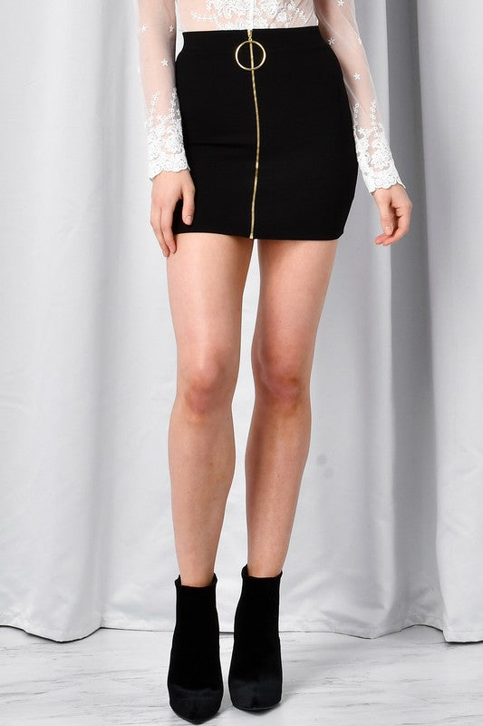 Ring Mini Skirt - Black