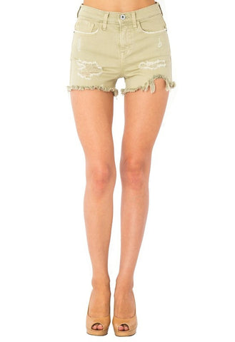 Ripped Denim Shorts - Pistachio