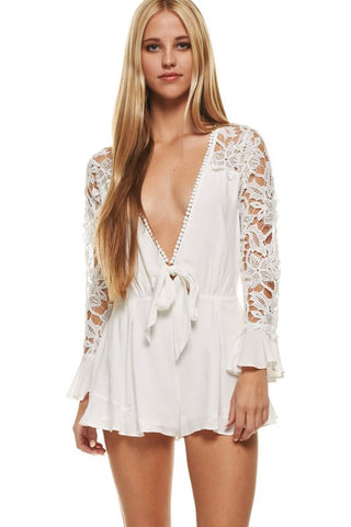 Clouds Lace Back Mini Playsuit Romper - White