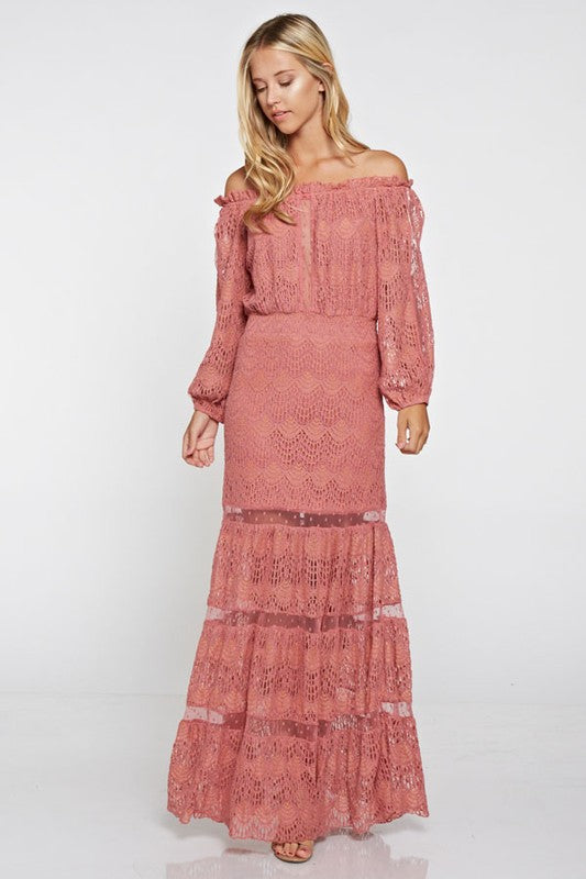 Off Shoulder Lace Maxi Dress - Rose