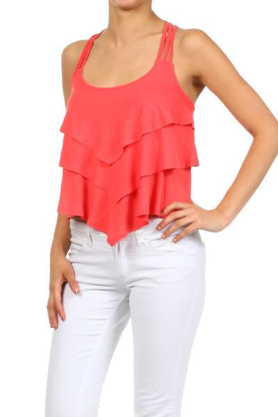 Solid Ruffles Top - Blue