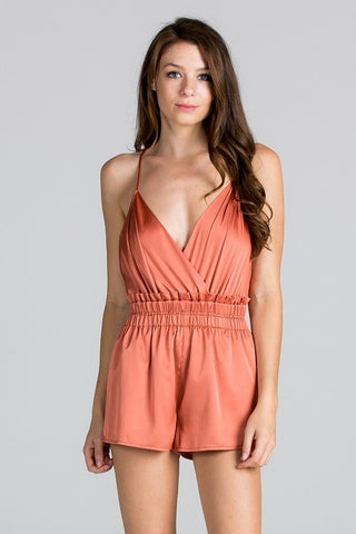 Bay Satin Mini Romper - Rust
