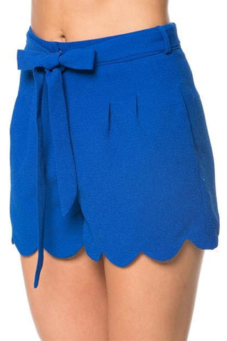 Scalloped Hem Royal Shorts - Blue