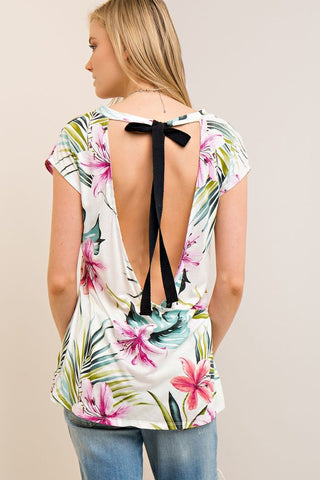 Scoop Back Flower Print Top