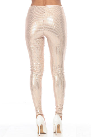 Sequined Leggings - Gold - FINAL SALE