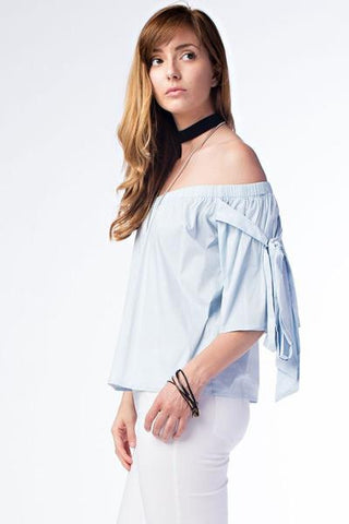 Off Shoulder Side Bow Top - Light Blue