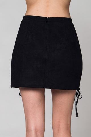 Skirt With Front Lace Tie - Black