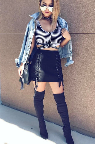 Striped Rib Knit Buttoned Multiwear Crop Top