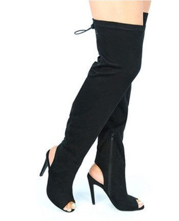 Over the knee Suede peep toe boots