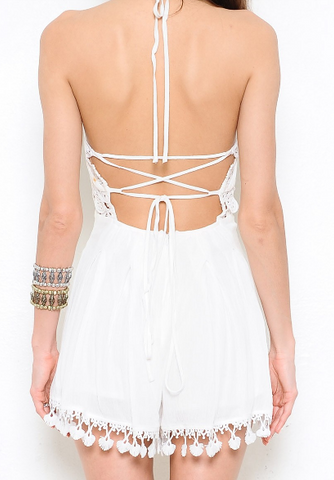 Natalia Mini Romper - White