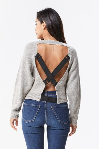 Elastic Cross Back Side Slit Sweater