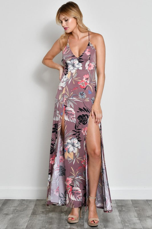 Venice Flower Print Slit Maxi Dress