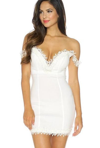 Crochet Trim Strapless Mini Dress - White