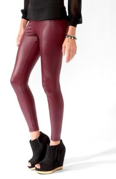 Coated Leggings - Red - FINAL SALE
