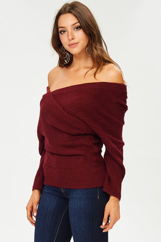 Off Shoulder Reversible Sweater - Wine