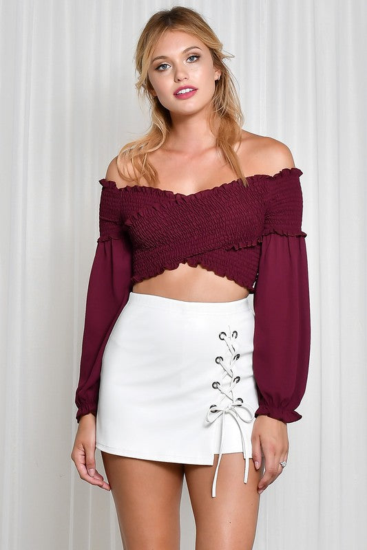 Off Shoulder Smocking Crop Top (more colors)