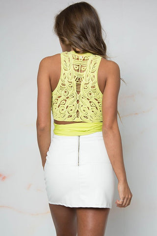 Crochet Multi wear Crop Top -Yellow