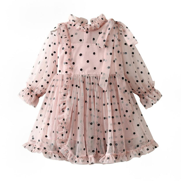 Dots long sleeve lace dress - Little Guardian