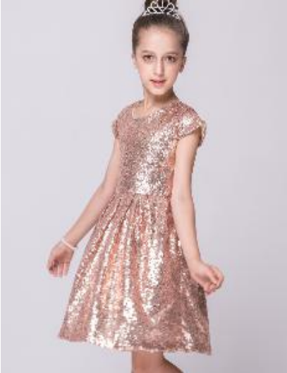 Gold colour sequin party dress - Little Guardian