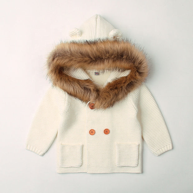Hooded wool collar coat - Little Guardian