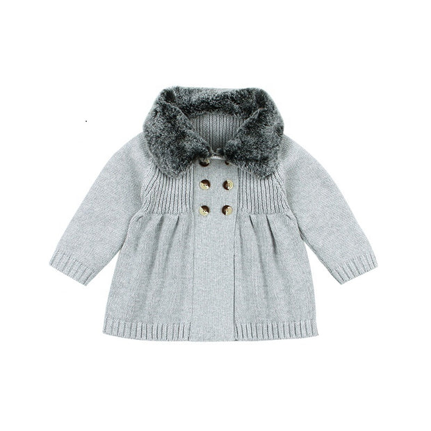 Wool collar stylish coat - Little Guardian
