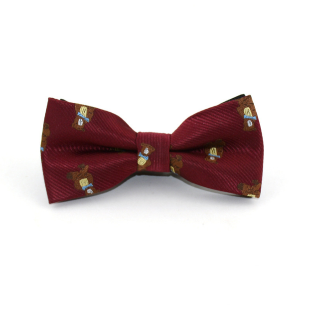 Maroon cartoon printed Bow tie - Little Guardian