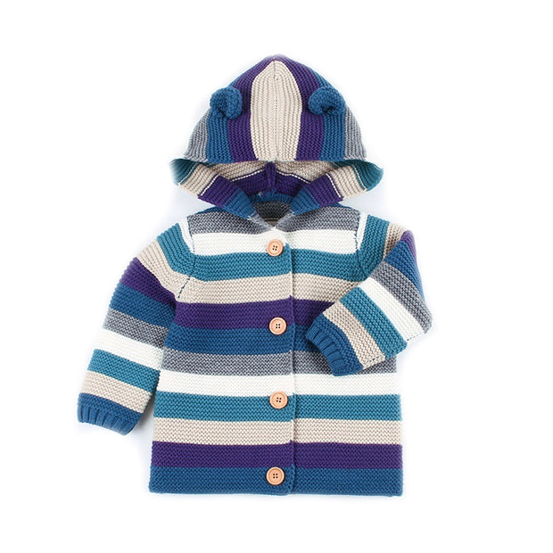 Hand knitted Hooded Sweater cardigan for new born to toddler - Little Guardian