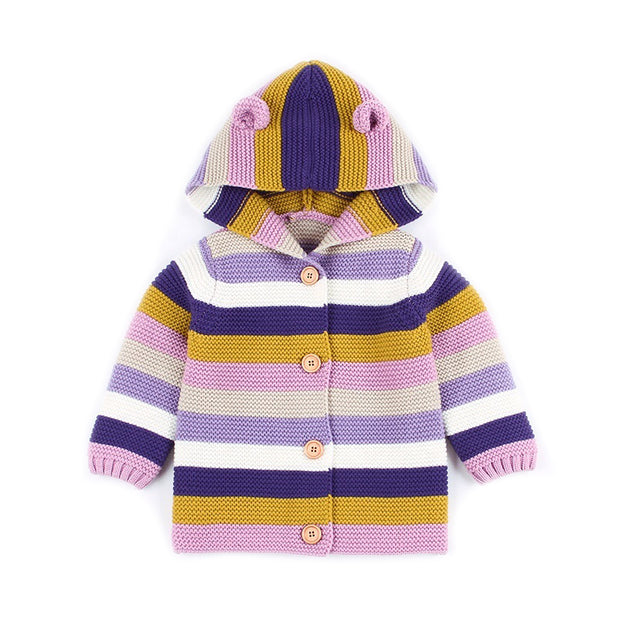 Hand knitted Hooded Sweater cardigan for new born to toddler- Little Guardian