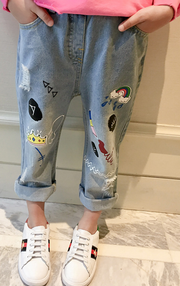 Ripped print girl's design jeans - Little Guardian