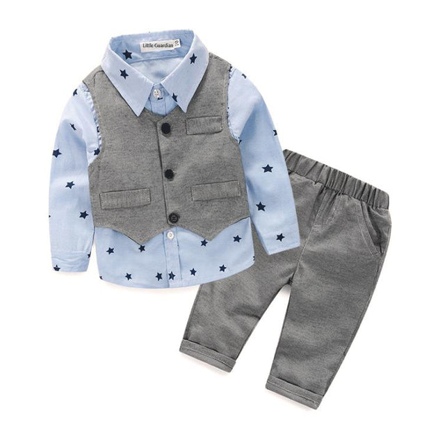 Three pieces suits set blue - Little Guardian